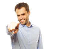 Business man showing finger to be number one Stock Images