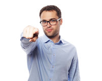 Business man showing finger to be number one Stock Photos