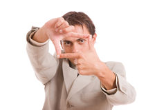 Business man showing frame hand gesture Royalty Free Stock Photos