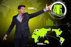 Business man showing 4G technology. In attractive background Royalty Free Stock Image