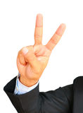 Business man showing gesture two fingers Royalty Free Stock Photos