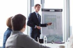 Business man showing ground-plan during meeting Stock Photos