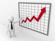 Business man showing growth graph chart Royalty Free Stock Photo