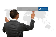 Business man showing hand and finger with search engine graphic. Business man showing hands and fingers with search engine graphic Stock Image