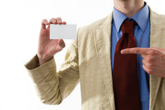 Business man showing his blank. Stock Photos