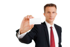 Business man showing his business card Royalty Free Stock Image