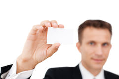 Business man showing his business card Stock Images