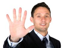 Business man showing his hand Stock Photography