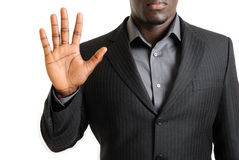 Business man showing his palm Stock Images