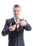 A business man showing his phone Royalty Free Stock Photos