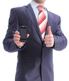 Business man showing his phone Royalty Free Stock Photography