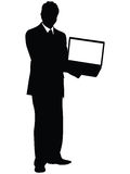 Business man showing laptop Royalty Free Stock Photo