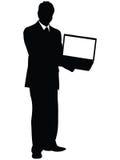 Business man showing laptop Royalty Free Stock Photo