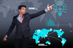 Business man showing the light bulb Royalty Free Stock Image