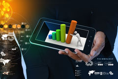 Business man showing man pushing graph chart. In color background Stock Photo