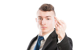 Business man showing the middle finger Stock Images