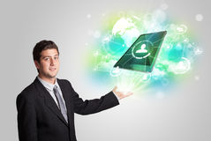 Business man showing modern tablet technology concept Royalty Free Stock Image