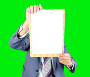 Business man showing note paper Stock Photography