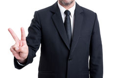 Business man showing number two with fingers Stock Photography