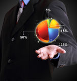 Business man showing pie chart Royalty Free Stock Photos