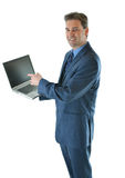 Business man showing a presentation on laptop Royalty Free Stock Photos