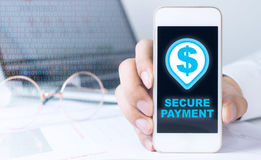 Business man showing a secured payment Royalty Free Stock Images