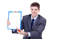 Business man showing signboard Royalty Free Stock Photography