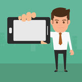 Business man showing smart phone. Stock Photo