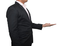 Business man showing something on his hand isolated on white ba Stock Photo
