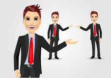 Business man showing something Stock Images
