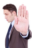 Business man showing stop gesture Stock Image