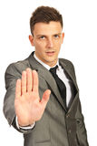 Business man  showing stop hand Stock Photo