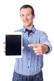 Business man showing tablet pc with blank screen  on whi Stock Photo