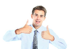 Business man showing thumbs Stock Images