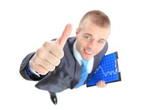 Business man showing the upward trend of a graphic Stock Photography