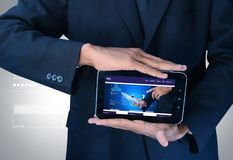 Business man showing web page on tablet. Digital illustration of business man showing web page on tablet stock photos