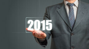 Business Man Showing Year 2015 Stock Photography