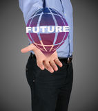 Business man shows the concept of the future Royalty Free Stock Image