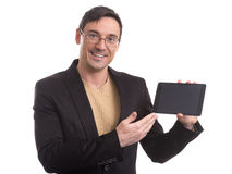 Business man shows digital tablet with blank screen Stock Photography