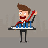 Business man shows increasing bar chart on smart phone. Cartoon Vector Illustration Royalty Free Stock Images