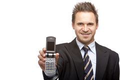 Business man shows mobil phone Stock Photo