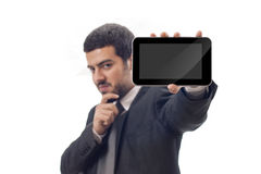 Business man shows tablet pc screen Stock Images