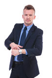 Business man shows you the watch Royalty Free Stock Images