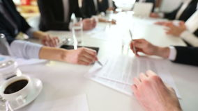 Business man sign contract. At meeting in office