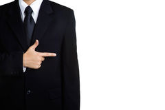 Business man sign space Pointing isolated Royalty Free Stock Photography