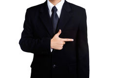 Business man sign space Pointing isolated Stock Photography
