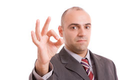 Business man signaling ok Royalty Free Stock Photos