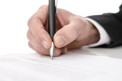 Business man signing a contract Royalty Free Stock Images