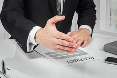 Business man signing contract making a deal, classic business Royalty Free Stock Images