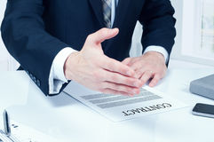 Business man signing contract making a deal, classic business Stock Photos